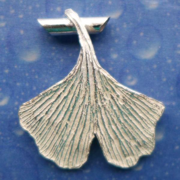 Silber Blatt Ginkgo Anhänger