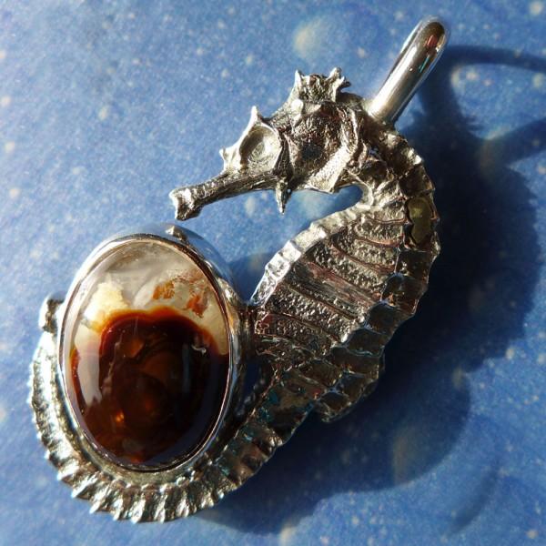 Seepferdchenkette Feuerachat Silber Anhänger