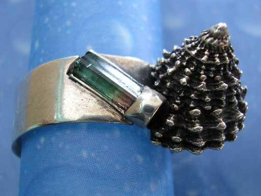 Gekrönte Strandschnecke Turmalinkristall Ring