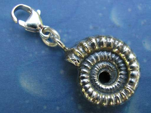 Ammonit mit Loch Charms mit Karabiner