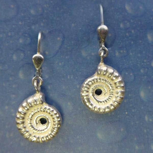 Ammonit Ohrringe Fossilien Silber