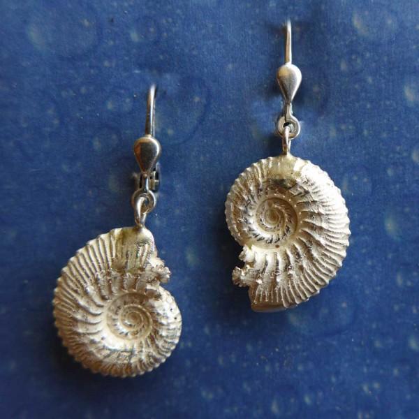 Versteinerter Ammonit Ohrringe Silber