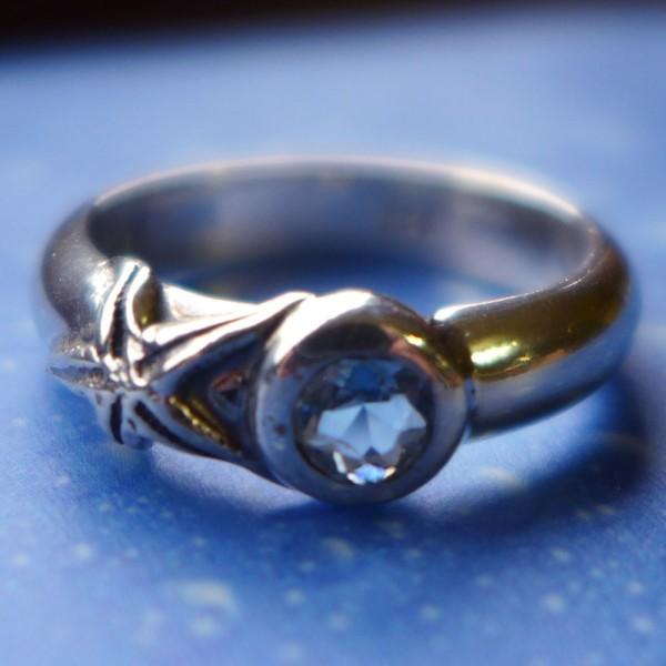 Seestern Ring Silber Aquamarin