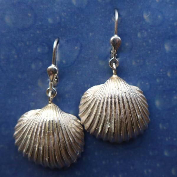 Silber Muschel Ohrring Genarbte Arche
