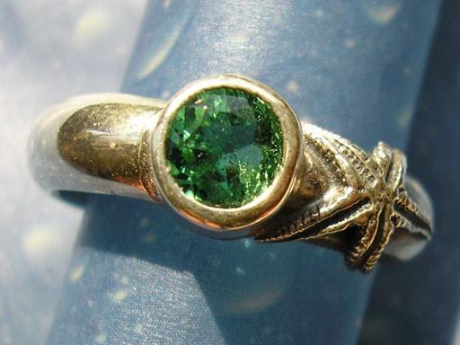 Seesternchen mit Turmalin Ring